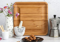 Food Level Multifunction Bamboo Cheese Cutting Board Large Square Shaped 13x13""