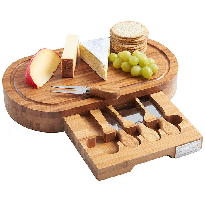 Outdoor Indoor Bamboo Cheese Board Cutlery Knife Set With Laser Or Burned Logo