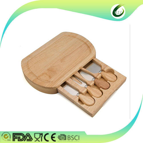 Eco Friendly Bamboo Cheese Board And Knife Set Antimicrobial Non - Flammable