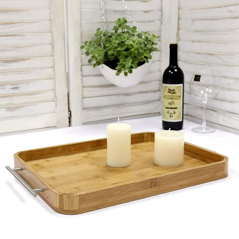 Professional Rectangle Bamboo Serving Tray Food Tray With Stainless Steel Handle