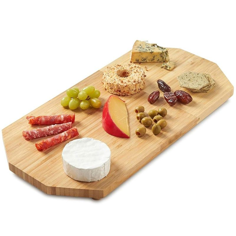 Water Resistant Bamboo Cutting Board With Feet  , Bamboo Cheese Serving Tray