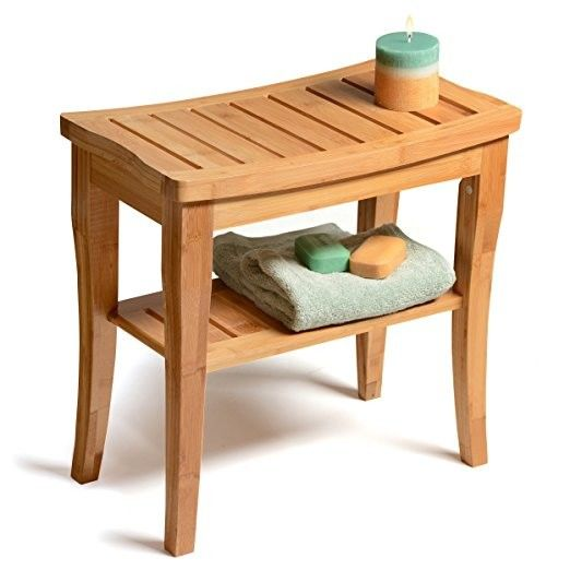 Indoor Bamboo Shower Benches Seat And Stools With Storage Shelf Unbreakable